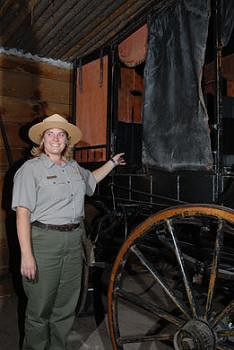 Ranger Julie Croglio and historic wagon
