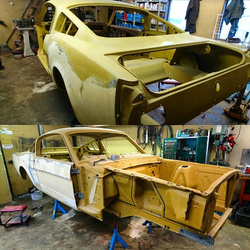 Min #Mustang #fastback 1965 på plats och nu har vi lite jobb framför oss, men det ska bli kul. #mustanggt