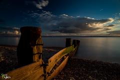 Sea and Sky (Stuart_Byles) Tags: beach sunset groynes slow sky clouds pebbles green sea worn longexposure smooth