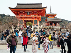 Kiyomizu-dera (david.ow) Tags: religion kyoto olympus travel traditionalwear entrance em5ii architecture kiyomizudera culture japan temple shrine