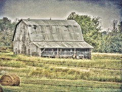 Autumn Barn (clarkcg photography) Tags: barn old largebarn rundown letgo notkeptup standing worseforthewear rough usable painted shingles tractor landscape landscapesaturday7dwf 7dwf