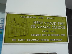 Photo of Cheltenham Grammar School and Richard Pate green plaque