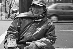 Downtown in Vancouver on a cold snowy afternoon. (Tony Sprackett) Tags: poverty street winter portrait snow cold vancouver broke panhandler sparechange