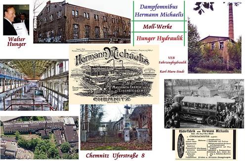 Maschinenfabrik Hermann Michaelis mit Dampfbus, Hunger-Hydraulik,  VEB Fahrzeughydraulik Karl-Marx-Stadt   Uferstraße 8