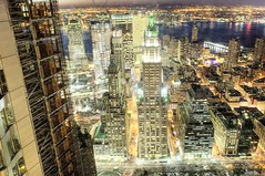 Woolworth Building (Tony Shi.) Tags: world park city nyc urban ny building glitter skyline night river frank concrete downtown broadway nj 7 gehry center row jungle woolworth jersey tribeca wtc hudson sach trade goldman hdr wfc sachs beekman