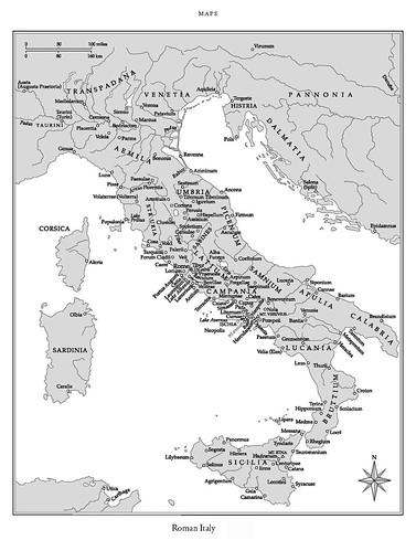 Карта Италии периода Древнего Рима