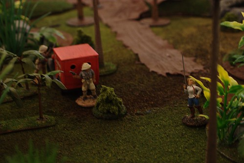White Russians, cunningly disguised as British, investigate the jungle near the outpost.