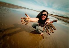Becky @ the beach.. (jetbluestone) Tags: blue sun colour wet girl fun effects sand becky nik strobist lighthousesky