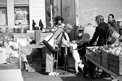 In New York - Late Afternoon (tamjty) Tags: life street city nyc light people urban blackandwhite bw woman usa dog sun ny monochrome contrast america dark 50mm us warm shadows market manhattan f14 candid snapshot streetphotography photojournalism documentary sigma unionsquare journalism