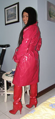 Shiny Red Boots (johnerly03) Tags: red fashion fetish asian boot high mac thigh heel filipina length raincoat pvc patent philppines erly