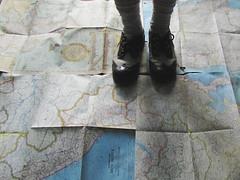 (bellydnce1103) Tags: house selfportrait abandoned feet girl socks illinois shoes maps atlas