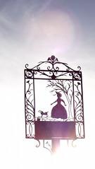 Lady's Walk Signpost in Silhouette (ianthomson1971) Tags: silhouette scotland fife wroughtiron medieval signpost woodside glenrothes woodsideinn ladyswalk coaltownofbalgonie