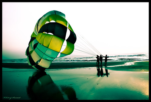 Parasailing on the beaches of Goa..