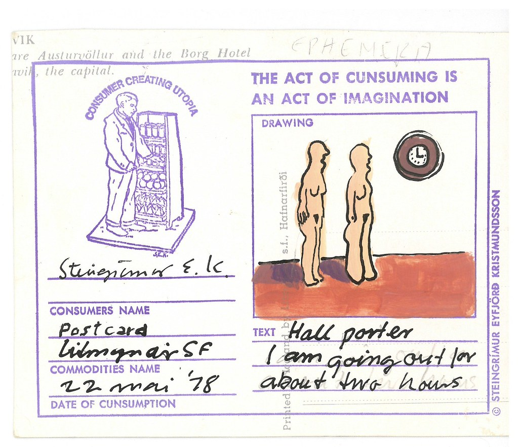 "KRISTMUNDSSON, Steingrimur E.  N.p. (Self-published) 1978.  ""The Act of Consuming..."": 16 postcards."