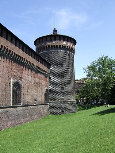 outside walls and tower of castle in Milan