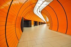 Muenchen (jorg.lutz) Tags: light orange black modern underground subway munich bayern bavaria licht publictransportation metro fear tube vertigo tunnel ubahn schwarz angst muenchen marienplatz flucht neonlicht schwindel zentralperspektive fluchten oeffentlicherverkehr