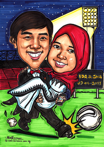 Manchester United wedding couple caricatures @ Old Trafford Stadium