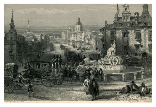 014- La Cibeles en la calle de Alcala de Madrid- The tourist in Spain (1837)-Roberts David