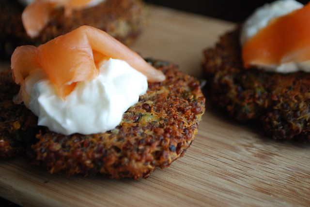 ... , asparagus, and quinoa patties with lemon yogurt and smoked salmon