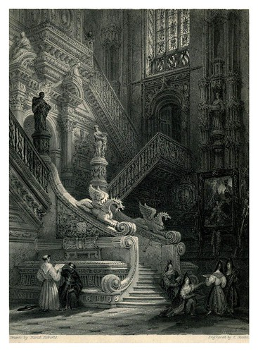 008- Escalera en el trancepto norte de la Catedral de Burgos- The tourist in Spain (1837)-Roberts David