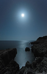 Moonlight Cliff (Tommaso Renzi) Tags: sea cliff parco moon night nikon san seascapes tommaso punta moonlight felice nightscapes nazionale rossa circeo renzi sanfelicecirceo d300s