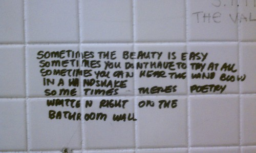 SUNY Purchase, bathroom stall, writing, Poetry On the Bathroom Walls