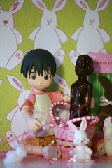 Danny was a bit surprised at his Easter basket.... (The Dolly Mama) Tags: bunnies girl easter chocolate danny easterbunny easterbasket yotsuba danbo shevie danboard