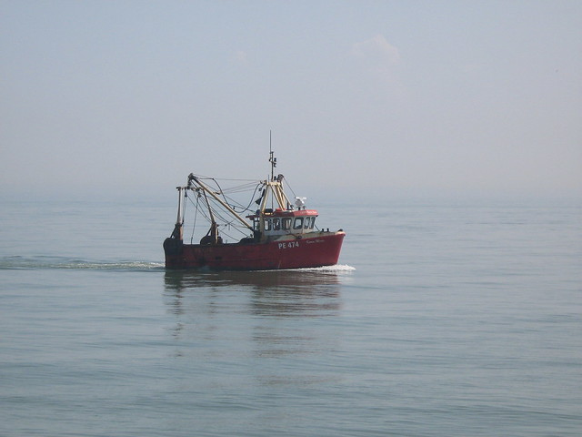 Fishing boat off the coast at Dungeness