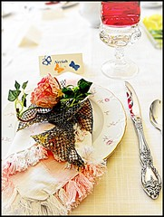 In Love With a Fairytale (Ruth.Photography) Tags: china birthday pink red summer white flower reflection green rose yellow silver butterfly tea butterflies ivy 18 placesetting namecard eighteen ugandantea