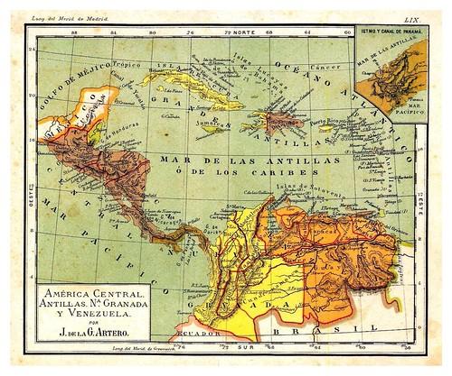 011- America Central-Antillas-Colombia y Venezuela-Atlas De Geografía- Astronómica, Física, Política Y Descriptiva 1908- Juan G. Artero