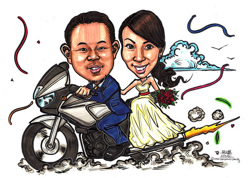 Wedding couple caricatures on bike