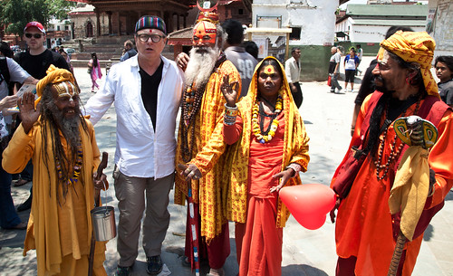 Bob Holman with Sadhos in Kathmanu