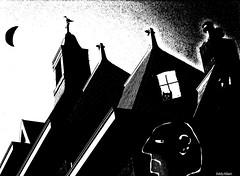It was a dark and scary night.... (Eddy Allart) Tags: holland art illustration cat rotterdam kat chat drawing kunst cartoon nederland gato katze dibujo poes illustratie blanconegro tekening eddyallart