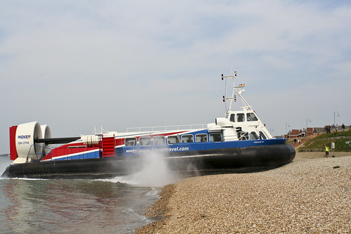 Hovercraft Hits The Beach At Speed