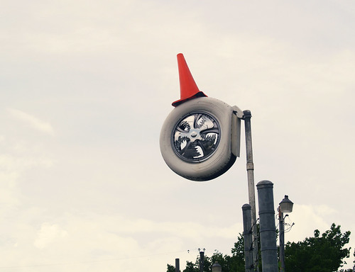 cone on white tire
