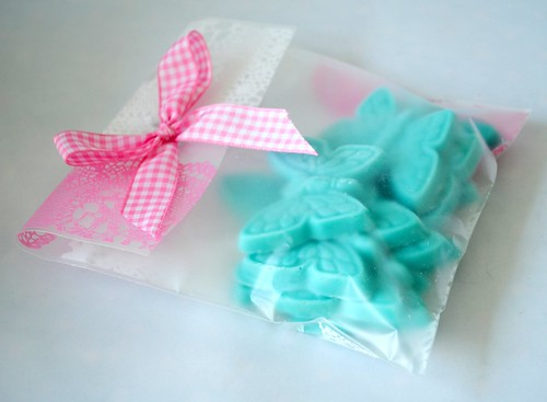 Hand-made blue chocolate butterflies packaged up