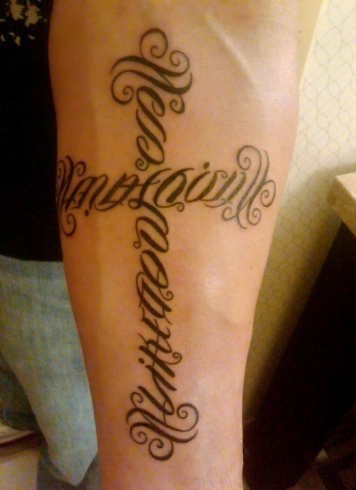 """Mathieu"" & ""Gods Gift"", ""Makayla"" & ""Like God"" Ambigram Cross Tattoo"