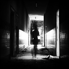 Disappear (B.e.l.i.v.o) Tags: longexposure light blackandwhite bw white abstract black building abandoned monochrome look lines backlight square long alone loneliness shadows expression air ghost feel human fade loner lostsoul greatphotographers flickraward