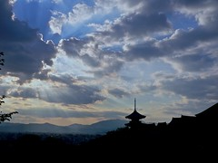 Kiyomizudera sunset (AkheL) Tags: wood old city travel blue sunset shadow sky black japan night clouds temple lumix pagoda ancient kyoto panasonic   destination tradition    kiyomizudera gh1