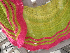 Whippoorwill (MiA Inspiration) Tags: pink green wool scarf knitting silk wrap merino shawl lime knitted cerise handspun handknitted handdyed whippoorwill