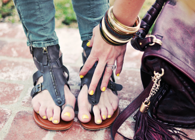 leather sandals + yellow  nails+bangles+bag