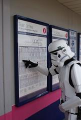 Stormtrooper looking at train times (HertsmereBC) Tags: starwars trainstation stormtrooper traintimes