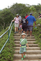 Coming down the stairs from Iao