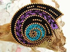 Stretching my thinking.... (woolly  fabulous) Tags: wool leaves pin purple brooch felt zipper