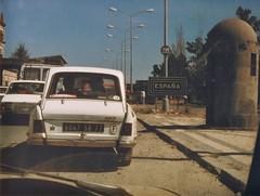 Spain 1985 -34 (paul_appleyard) Tags: road portugal spain crossing border citroen spanish ami 1985 frontier vilarformosa 6047sr77