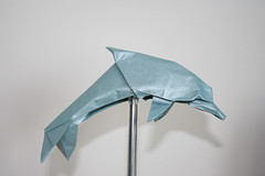 Origami Dolphin (simbakeila123) Tags: blue art paper fun book amazing origami very dolphin foil tissue nicolas terry paperfolding quentin folding diagrams desing designed trollip seguence