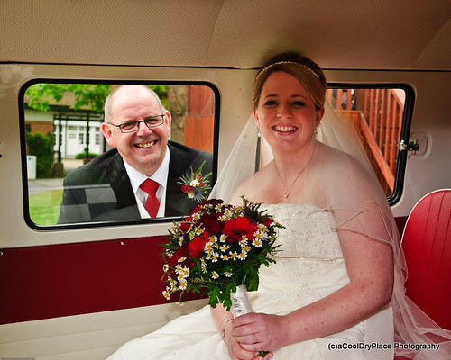 Laura and Dad in the VW Camper