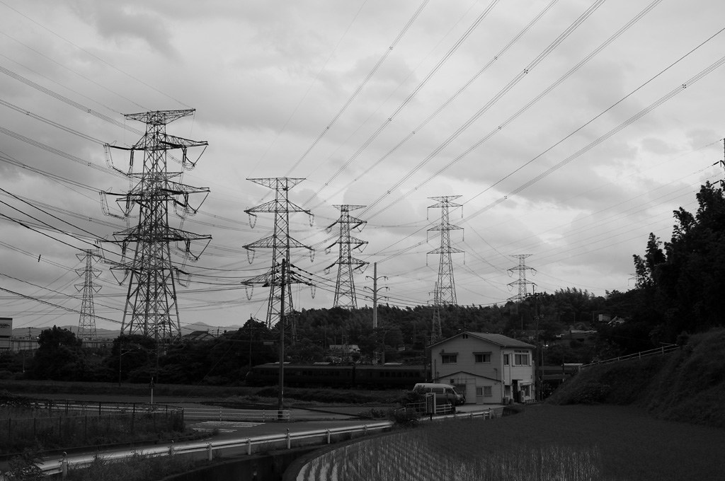 Today 2: the pylons - a country scene in Kyushu, Japan
