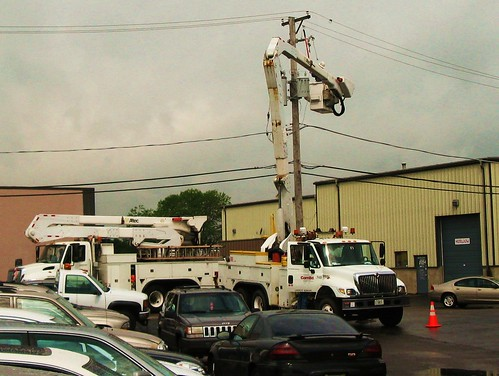Commonwealth Edison Company crew at a work site.  Glenview Illinois USA. June 2011. by Eddie from Chicago