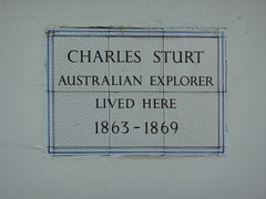 Photo of Charles Sturt white plaque